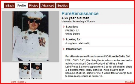 Screenshot of an online dating profile belonging to Sir Patrick O'Shannahan which he uses to try and get women to come to his Camelot.
