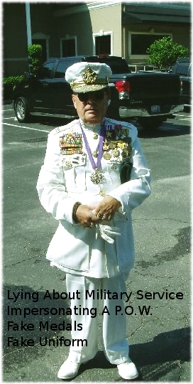 Picture of known POW faker Patrick O'Shannahan standing and wearing fake military uniform and medals.