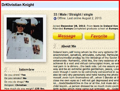 Picture of Roger Eldon Floyd Sisson aka Patrick O'Shannahan aka Dr Khristian Knight using dating profile to lure women.